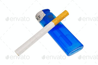 Lighter and cigarette on a white background