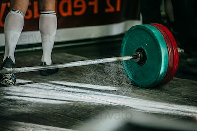 rod with plates for deadlift
