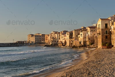 Cefalu seaside houses on Sicily
