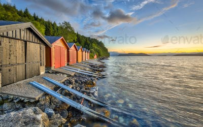 Colorful Boathouses in Norway