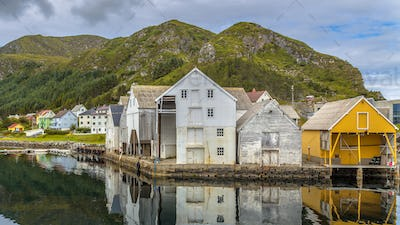 Old wooden Warehouses in Runde island harbour