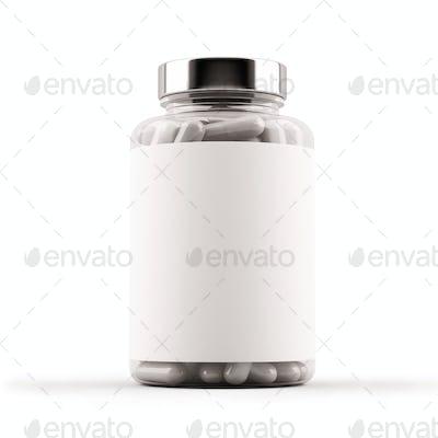 Medicine glass bottle full of pills. 3D Illustration.