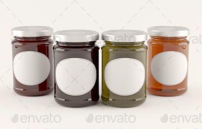 Jar of jam over white background. 3D Illustration.s