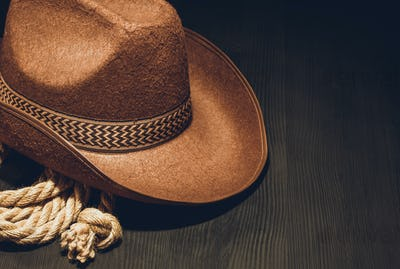 cowboy hat on wood