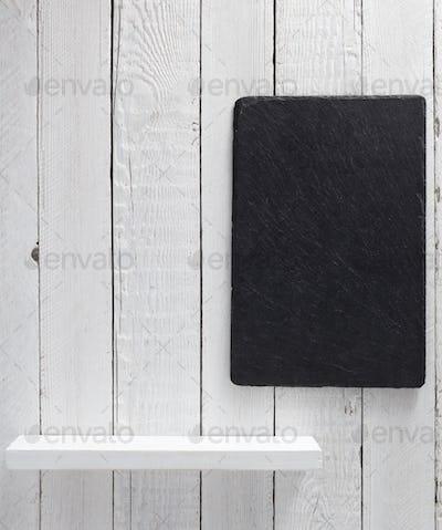 wooden shelf at white background