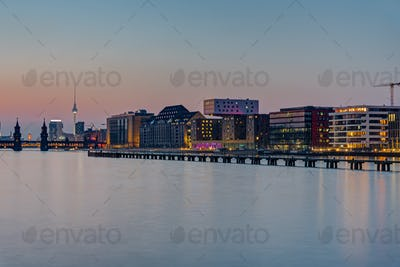 The Spree river in Berlin after sunset