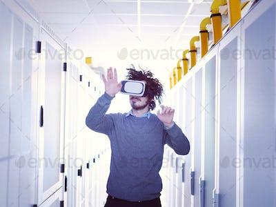 IT engeneer using virtual reality headset