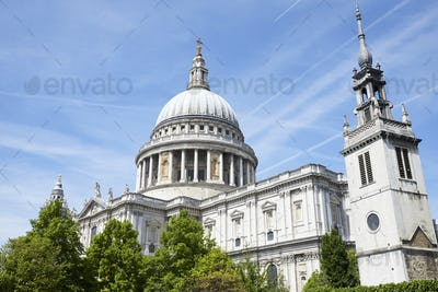 LONDON - MAY, 2017: St Pauls Cathedral against blue sky