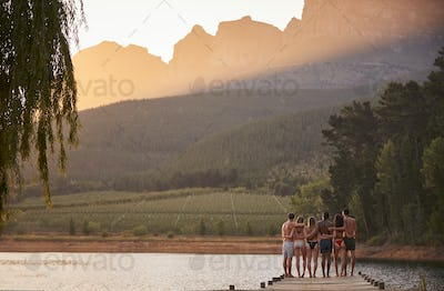 Group of friends hanging out by the lake, back view