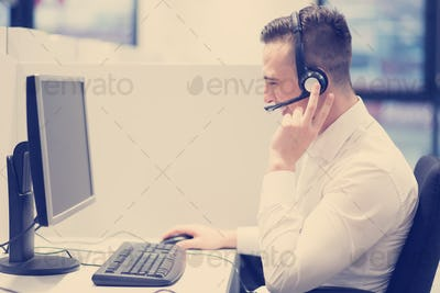 male call centre operator doing his job
