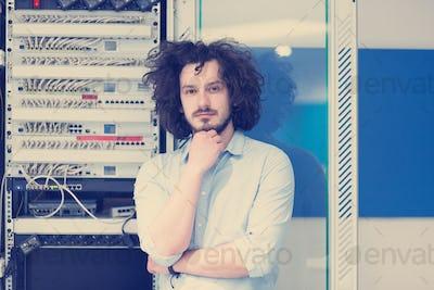 business man engeneer in datacenter server room
