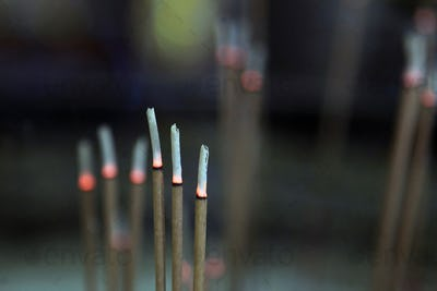 Incense sticks burn