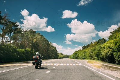Rider On Motorbike, Motorcycle Bike In Motion On Country Road. M