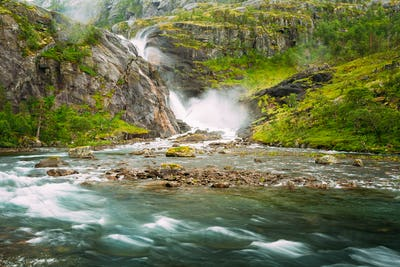 Beautiful Waterfall In Valley Of Waterfalls In Norway.