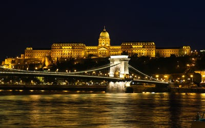 View on beautiful illuminated building in Budapest