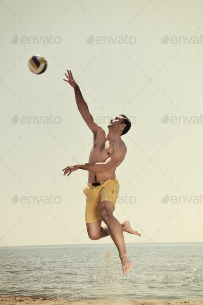 male beach volleyball game player