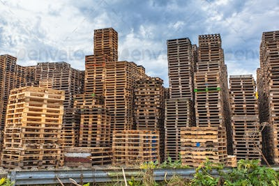 Stacks of Wooden Transportation Pallets