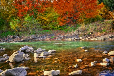 View of mountain river at autumn time