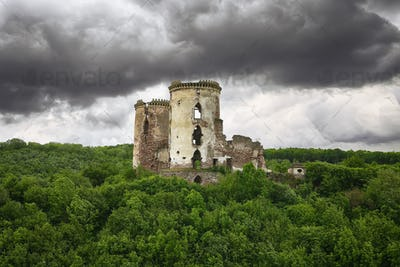 Spring view of Chervonohorod Castle ruins