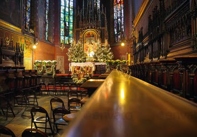 Cathedral interior at christmas time