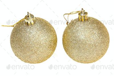 two golden christmas decoration balls