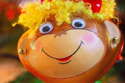 Smiling monkey chrismas decoration