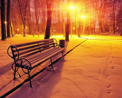 Winter park with benches covered with snow in the evening