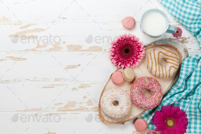 Milk, donuts and flowers