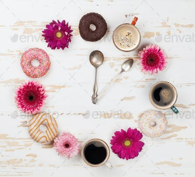 Coffee cup, donuts and gerbera flowers clock