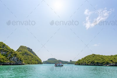 Boat for travel anchored in the sea