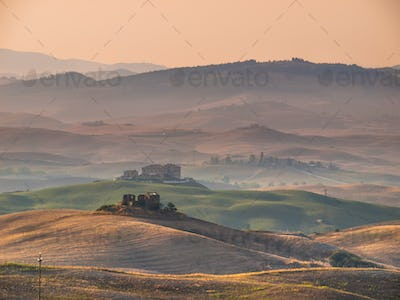 Tuscan Countryside with Hills and Villages