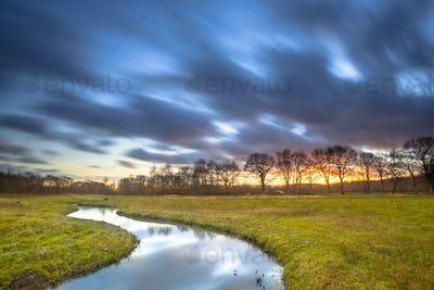 Long Exposue Orange Sunset over River Landscape