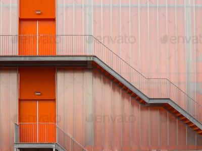 Modern Orange Fire escape stairs
