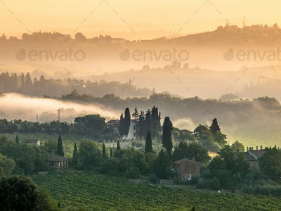 Tuscany Village Landscape on a Summer Morning