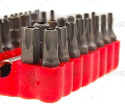 Srew Bit Set in red  organizer