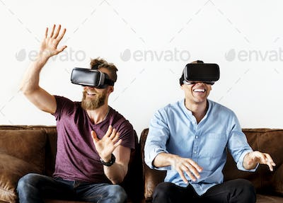 Men enjoying VR