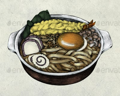 Hand drawn udon Japanese cuisine
