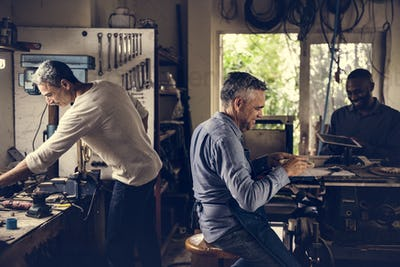 Men working in a workshop