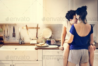Lesbian couple in the kitchen