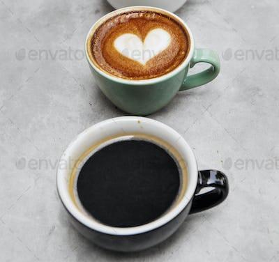 Closeup of fresh made hot coffee