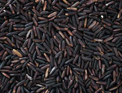 Closeup of black rice texture