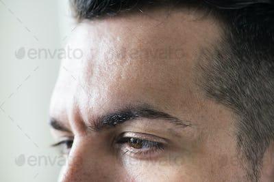 Side portrait of white man closeup on eyes