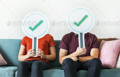 Couple showing yes sign icon
