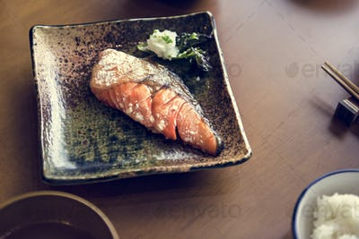 Salmon grilled set japanese food