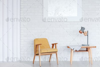 Wooden armchair in dining room