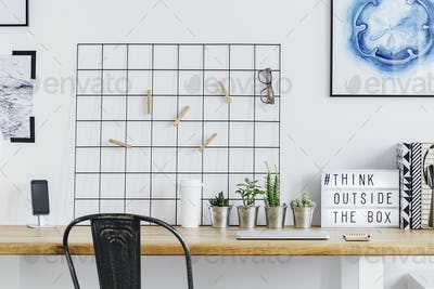 Home office with metal grid