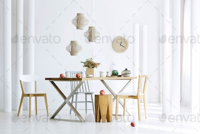 Natural dining room interior