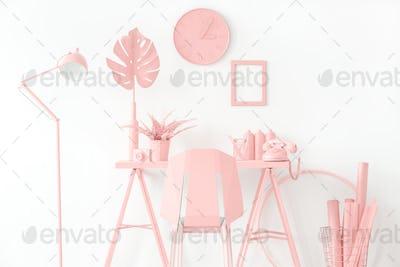 Pink workspace interior