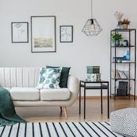 Posters in cozy apartment interior