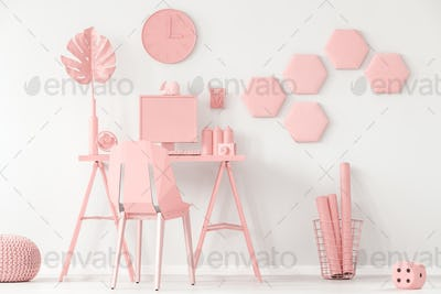 Pastel pink and white interior